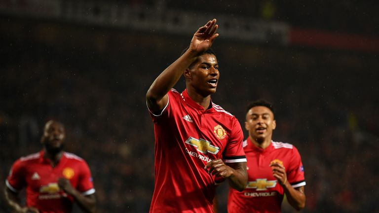 Rashford celebrates a goal against Basel in the Champions League