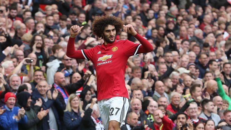 Marouane Fellaini goal celebration, Manchester United v Crystal Palace, Old Trafford, Premier League