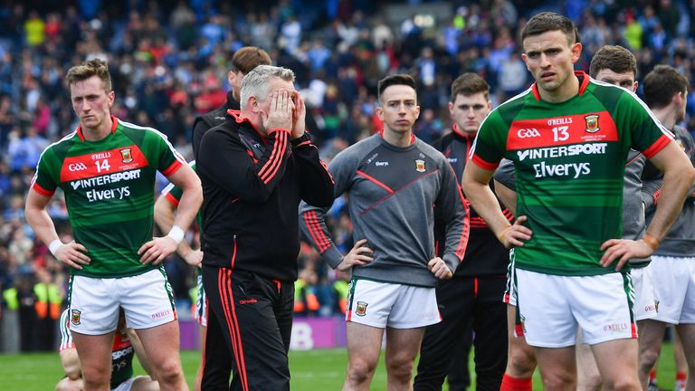 Mayo manager Stephen Rochford and players after the final defeat to Dublin
