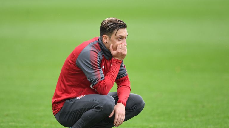 Mesut Ozil during a training session at London Colney on September 8, 2017