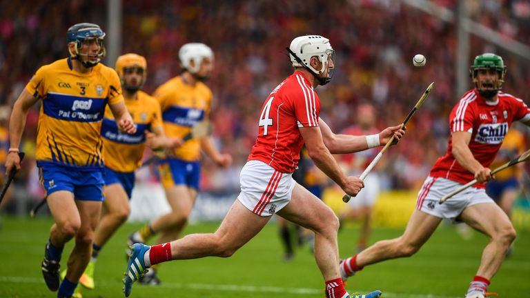 Patrick Horgan of Cork controls the sliotar during the Munster Final  against Clare