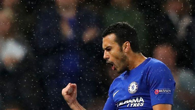 Pedro opens the scoring for Chelsea against Qarabag