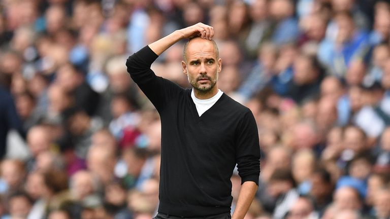Manchester City's Spanish manager Pep Guardiola looks on during the English Premier League football match between Manchester City and Crystal Palace at the