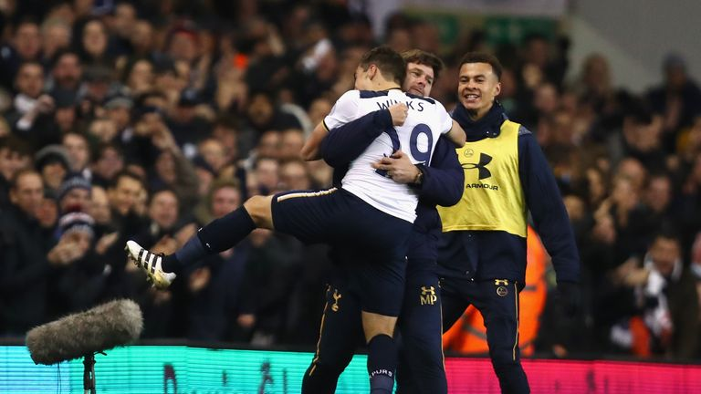 Winks celebrated with Mauricio Pochettino after his first goal for the club
