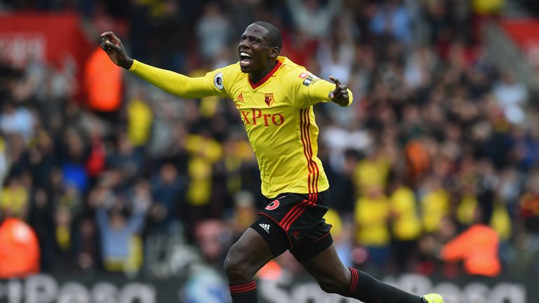 Abdoulaye Doucoure celebrates after scoring his sides first goal