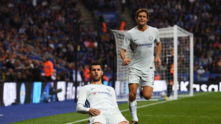 Alvaro Morata celebrates scoring his sides first goal during the Premier League match against Leicester City