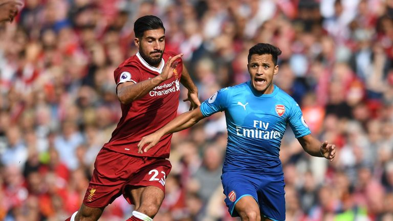 Emre Can in action during the Premier League match between Liverpool and Arsenal at Anfield
