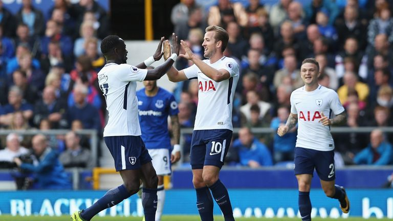 Harry Kane celebrates his second goal of the game