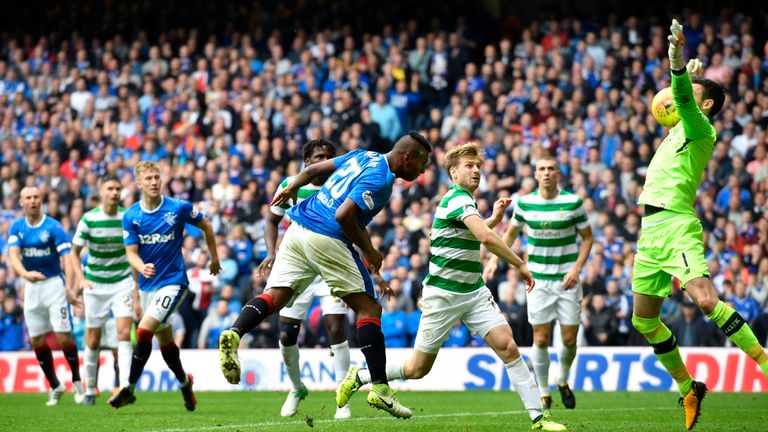Alfredo Morelos (centre) sees his second-half header saved by Craig Gordon