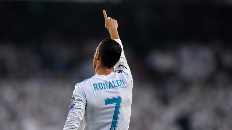 MADRID, SPAIN - SEPTEMBER 13: Cristiano Ronaldo of Real Madrid celebrates scoring his sides first goal during the UEFA Champions League group H match betwe