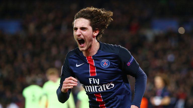 Adrien Rabiot of Paris Saint-Germain celebrates scoring his team's second goal