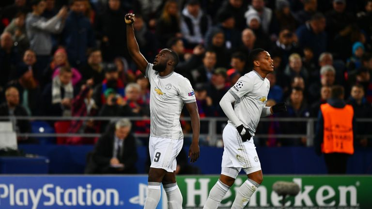 Romelu Lukaku scored twice for Manchester United in Moscow