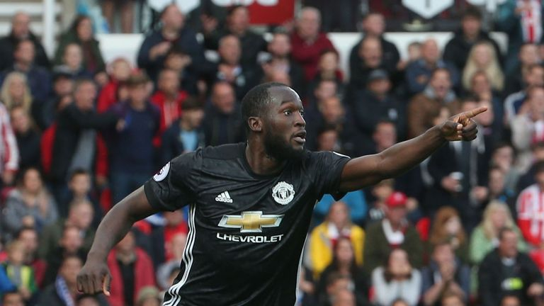 Romelu Lukaku celebrates scoring against Stoke