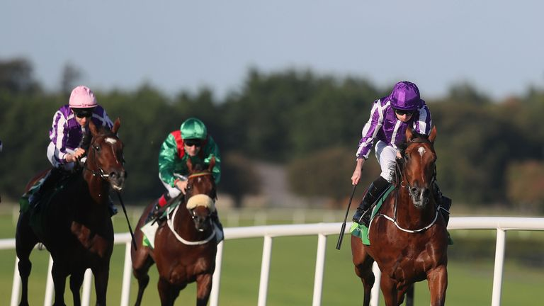 Saxon Warrior ridden by Ryan Moore (right) on the way to winning the Juddmonte Beresford Stakes at Naas Racecourse. PRESS ASSOCIATION Photo. Picture date: