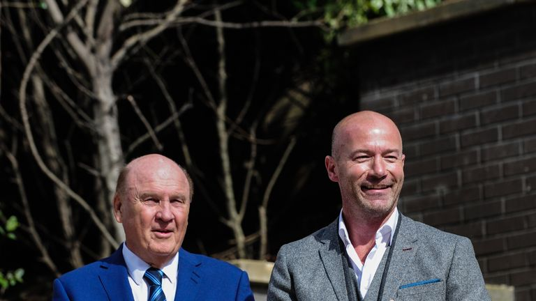 Freddy Shepherd (L) and Alan Shearer (R) during the unveiling of the Alan Shearer Statue on Barrack Road at St.James' P