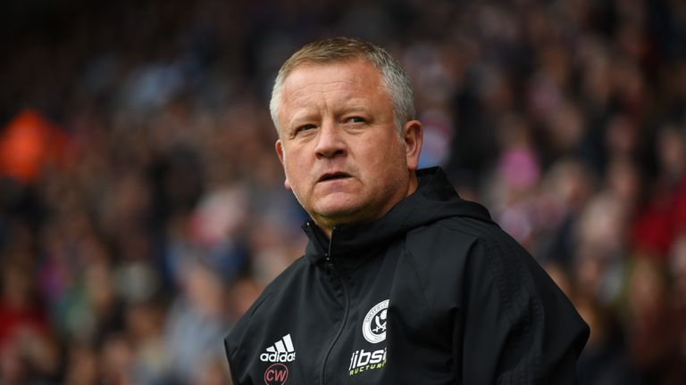 SHEFFIELD, ENGLAND - SEPTEMBER 16: Chris Wilder manager of Sheffield United looks on during the Sky Bet Championship match between Sheffield United and Nor