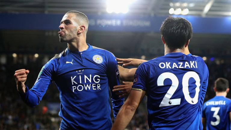 Islam Slimani celebrates his stunning goal as Leicester beat Liverpool 2-0 in the Carabao Cup