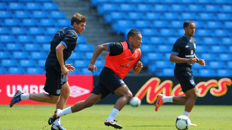 Steven Gerrard and Alex Oxlade-Chamberlain pictured in England training in 2012