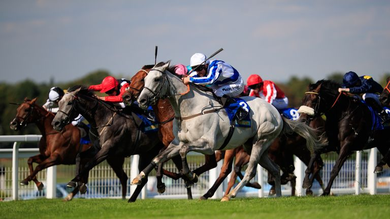 Thundering Blue ridden by Jim Crowley comes home to win The BetBright Recall Handicap at Sandown Park Racecourse, Esher.