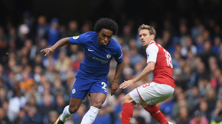 Willian of Chelsea attempts to get past Nacho Monreal of Arsenal during the Premier League match between Chelsea and Arsenal