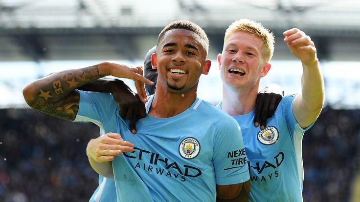MANCHESTER, ENGLAND - SEPTEMBER 09:  Gabriel Jesus of Manchester City celebrates scoring his sides second goal with Kevin De Bruyne