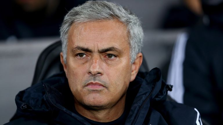 Jose Mourinho, Manager of Manchester United looks on during the Carabao Cup Fourth Round match against Swansea City
