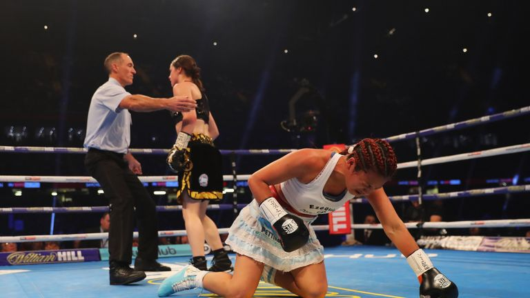 Katie Taylor floors Anahi Sanchez in the second