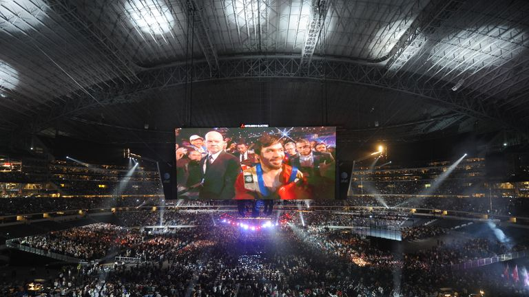 Pacquiao beamed throughout the Cowboys Stadium
