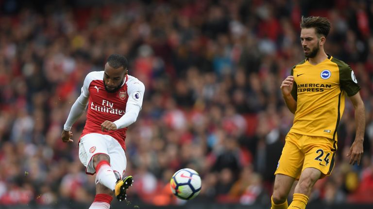 Lacazette fired against the frame of the goal on Sunday