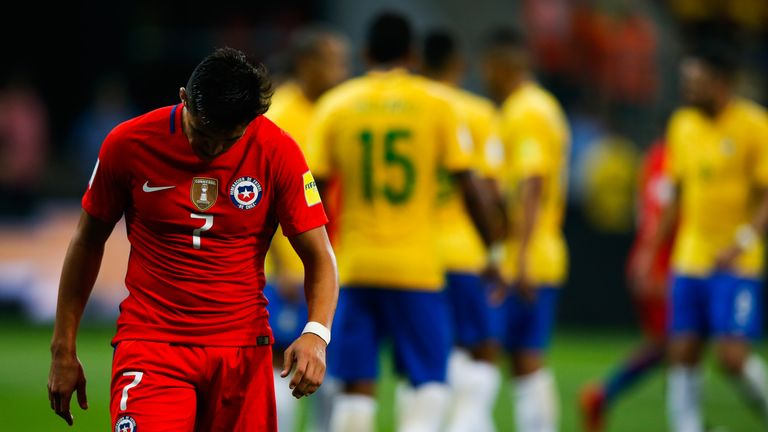 Alexis Sanchez and Chile will not be at the World Cup following defeat to Brazil