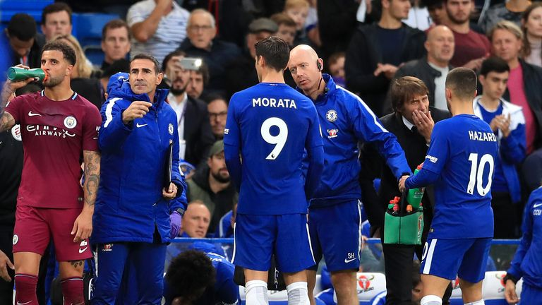 Chelsea's Alvaro Morata is set to miss six weeks with a hamstring tear