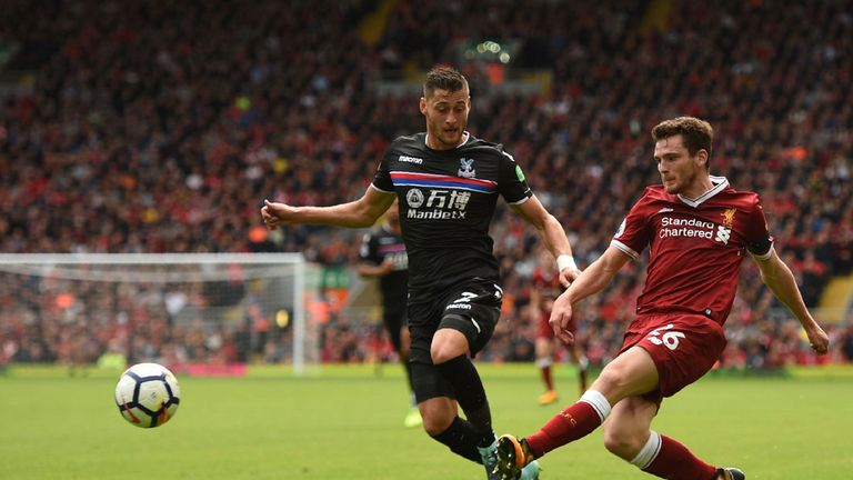 Andy Robertson in action for Liverpool against Crystal Palace