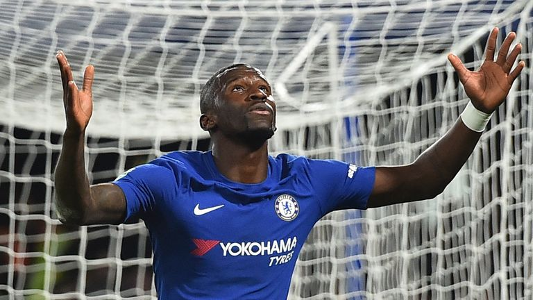 Antonio Rudiger celebrates after scoring the opener in the win over Everton