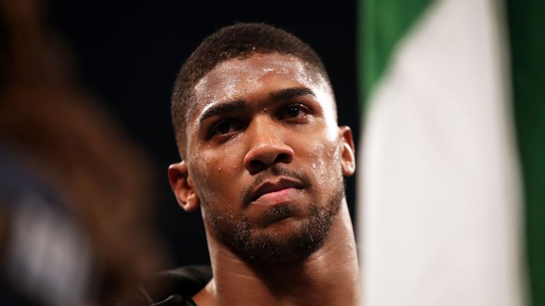 Anthony Joshua before before his World Heavyweight Title bout against Carlos Takam at the Principality Stadium
