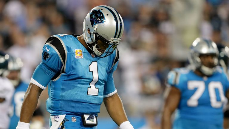 Cam Newton had an off night against the Eagles, throwing three interceptions