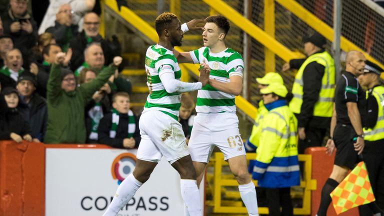 Celtic's Kieran Tierney (right) celebrates his goal with Moussa Dembele
