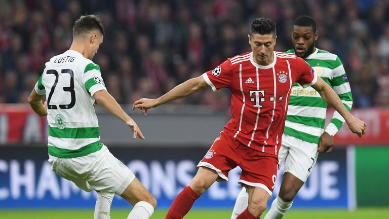 Robert Lewandowski had a goal ruled out for offside during the Champions League game