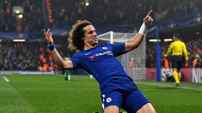 David Luiz celebrates after his curling effort put Chelsea ahead against Roma