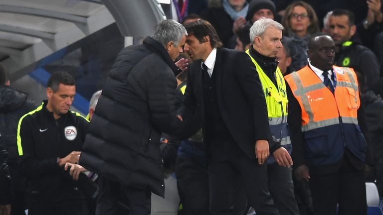 LONDON, ENGLAND - OCTOBER 23:  Chelsea manager Antonio Conte and Manchester United manager Jose Mourinho exchange words at the end of the Premier League ma
