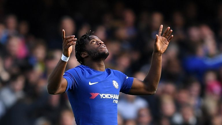 Michy Batshuayi of Chelsea celebrates scoring the 2nd Chelsea goal during the Premier League match between Chelsea and Watford