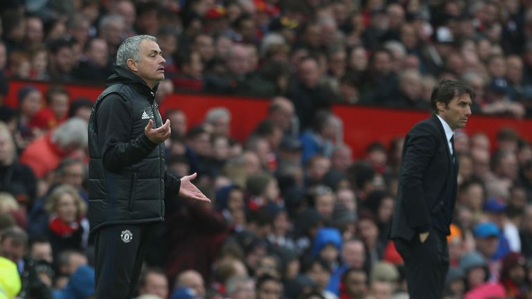 during the Premier League match between Manchester United and Chelsea at Old Trafford on April 16, 2017 in Manchester, England.