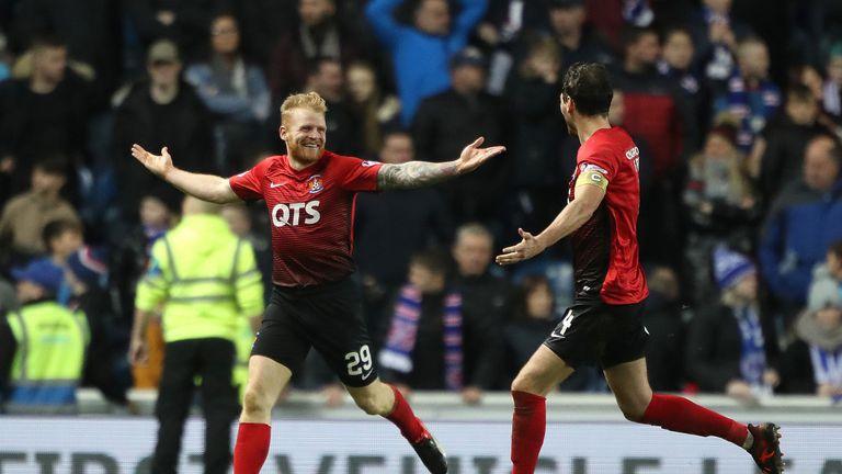 Kilmarnock's Christopher Burke (left) celebrates scoring the equaliser