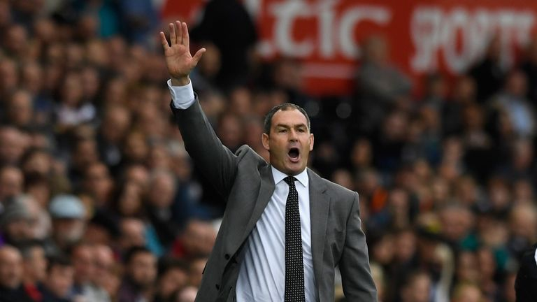 SWANSEA, WALES - OCTOBER 14:  Swansea manager Paul Clement reacts during the Premier League match between Swansea City and Huddersfield Town at Liberty Sta