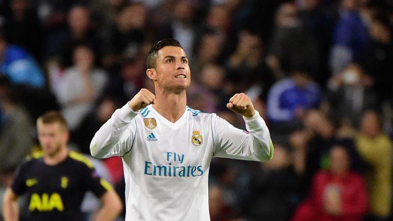 Cristiano Ronaldo celebrates his equaliser against Spurs