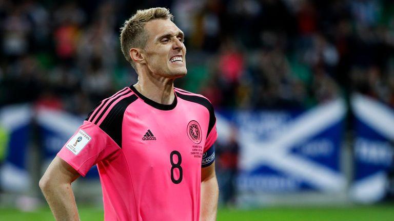 LJUBLJANA, SLOVENIA - OCTOBER 08: Darren Fletcher of Scotland reacts after the FIFA 2018 World Cup Qualifier match between Slovenia and Scotland at stadium