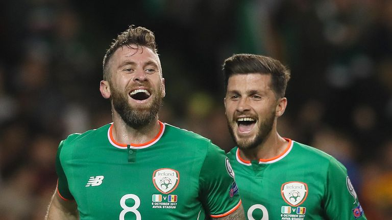 Daryl Murphy (left, with Long) scored twice against Moldova on Friday and could start again