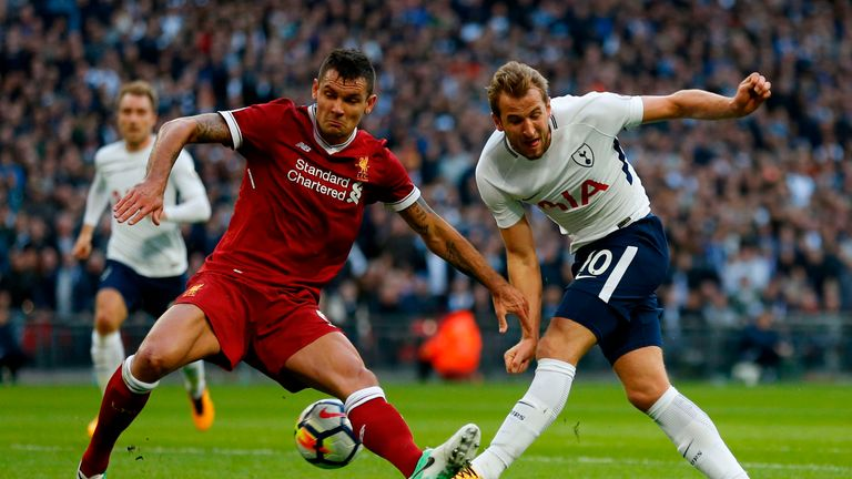 Liverpool's Croatian defender Dejan Lovren (L) vies with Tottenham Hotspur's English striker Harry Kane during the English Premier League football match be