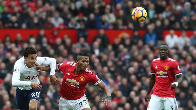 during the Premier League match between Manchester United and Tottenham Hotspur at Old Trafford on October 28, 2017 in Manchester, England.