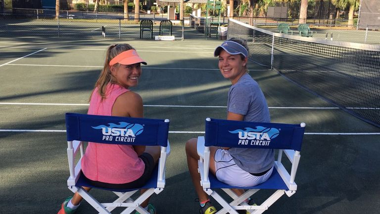 Emily Appleton (Left) is getting used to life on the professional tennis circuit
