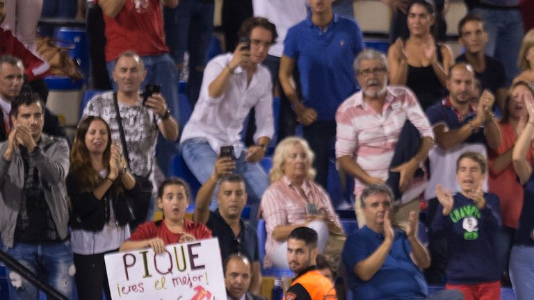 Gerard Pique was cheered off after receiving jeers from the home fans in the first half